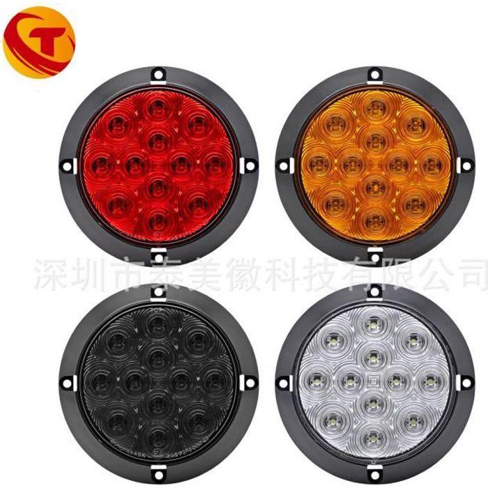 4 pouces 12 feu arrière ronde LED rouge remorque de camion jaune de frein à courroie côté lumière kit lumière 12V QCCDWILM3332