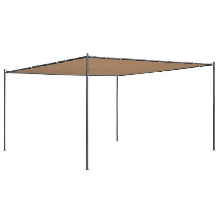 🧡8833Ergonomique- Belvédère avec toit incliné Tente de réception-Tente de Jardin-Tonnelle Barnum Chapiteau 400x400x264 cm Beige 180