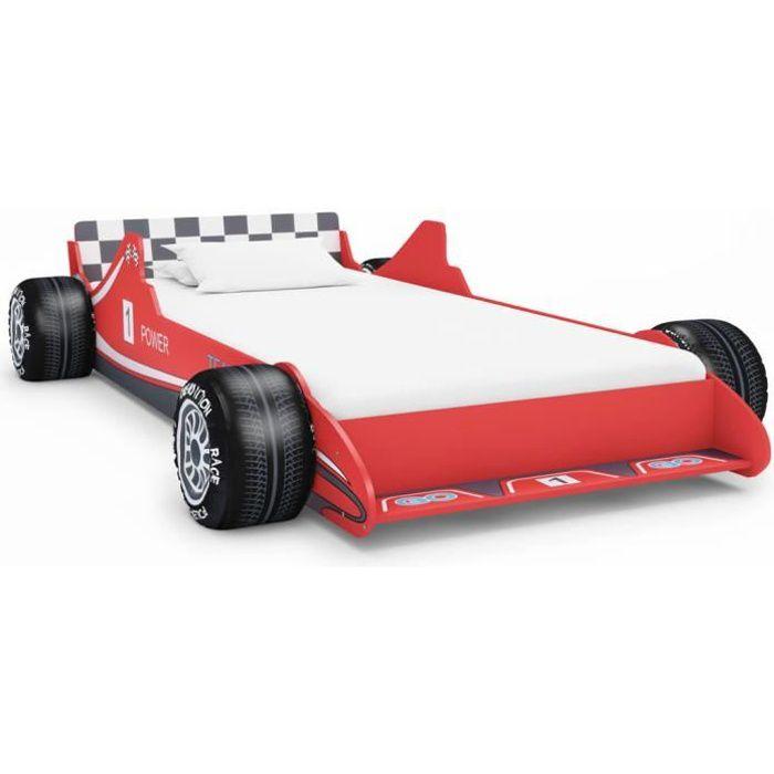 Lit enfant Contemporain Garçons Filles Lit voiture de course pour enfants - 90 x 200 cm Rouge ®AAORTX®