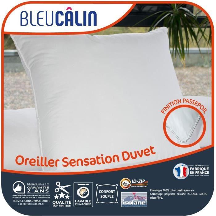 BLEU CALIN Oreiller Sensation Duvet - Blanc