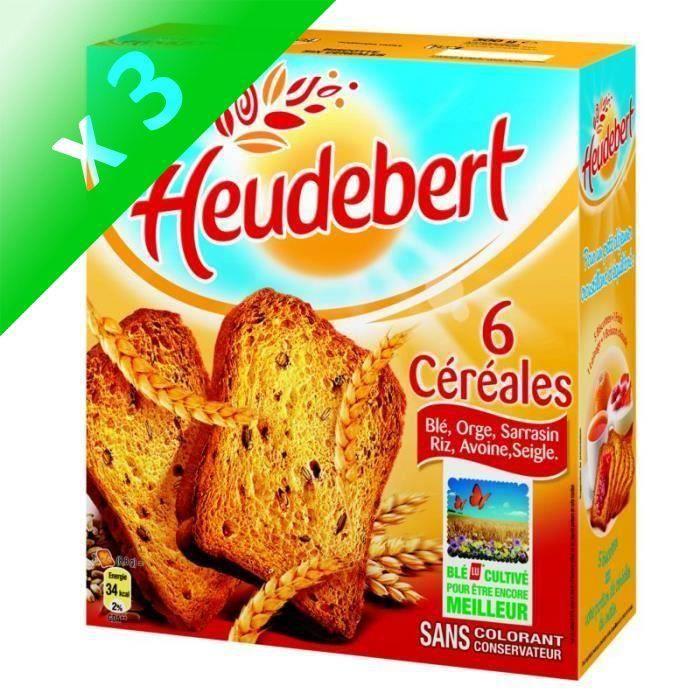 [LOT DE 3] Biscottes 6 céréales 300 g Heudebert
