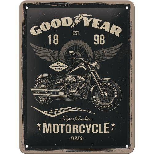 Plaque en métal 15 X 20 cm : Goodyear pneus motos
