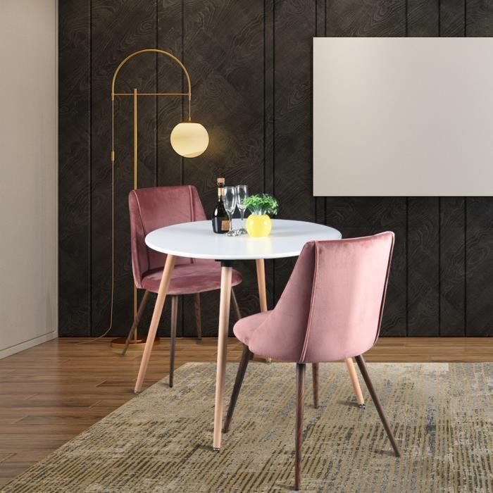 HOMY CASA Ensemble table à manger ronde 80 x 80 cm en MDF blanc et lot de 2 chaises en velours rose