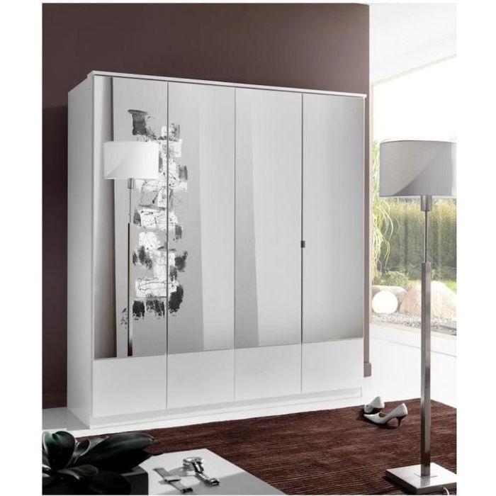Armoire penderie DINGLE 4 portes miroirs largeur 179 blanche blanc Bois Inside75