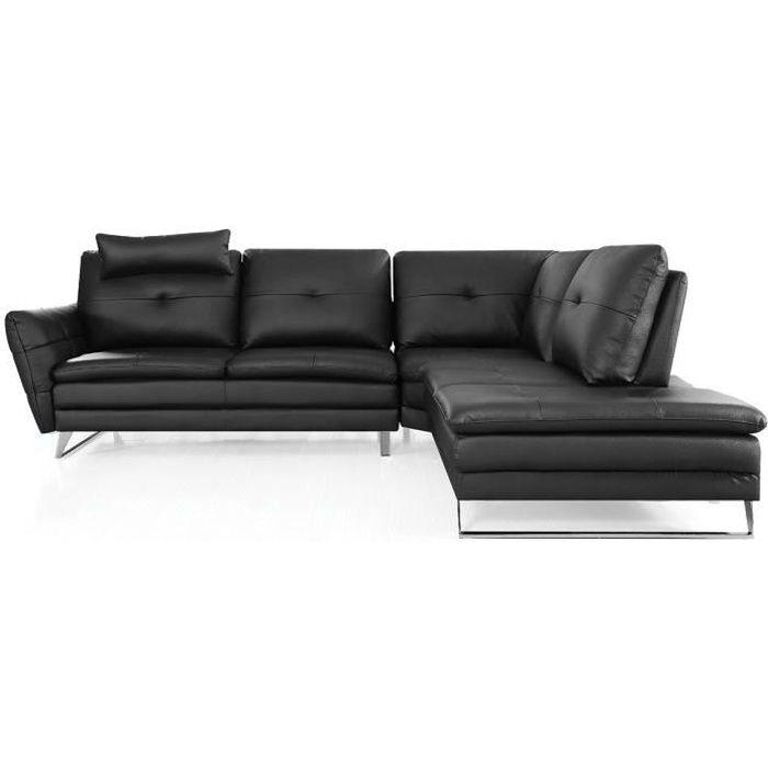 Canapé d'angle gauche en cuir ELENA - Droit - Noir
