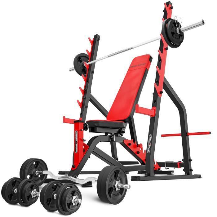 Marbo Sport Set MS3 170KG Kier G - Banc de musculation + support d'haltères réglable + barres et disques en caoutchouc 113 kg