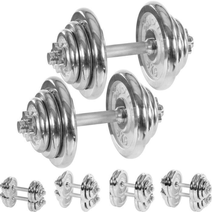 MOVIT Set d'haltères complet chromé 40 kg: 2x haltère avec vis de serrage tête étoile et 12 disques (4 x 5,0 kg + 4 x 2,5 kg + 4 x 1