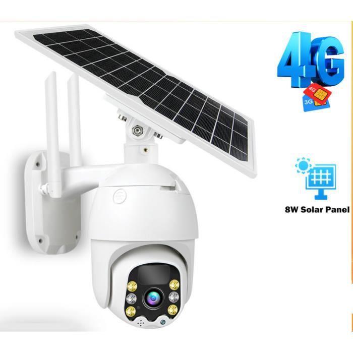 Caméra de surveillance extérieure IP 3G/4G 8W 1080P, dispositif de sécurité sans fil, avec panneau solaire et batterie Rechargeable