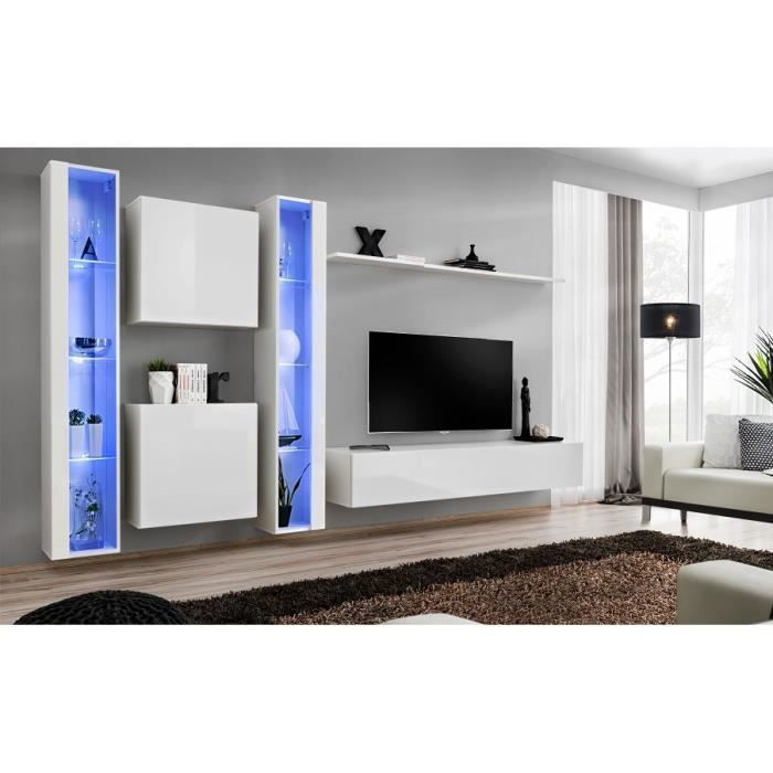 Ensemble meuble salon mural SWITCH XVI design, coloris blanc brillant. 40 Blanc