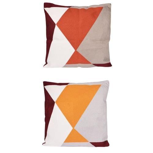 Coussin quadri orange 45 cm (1 modéle aléatoire) - Table Passion Orange