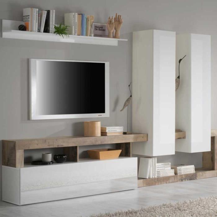 Composition TV 2 colonnes Blanc laqué brillant/Bois fumé - ISCHIA - L 277 x l 35 x H 173