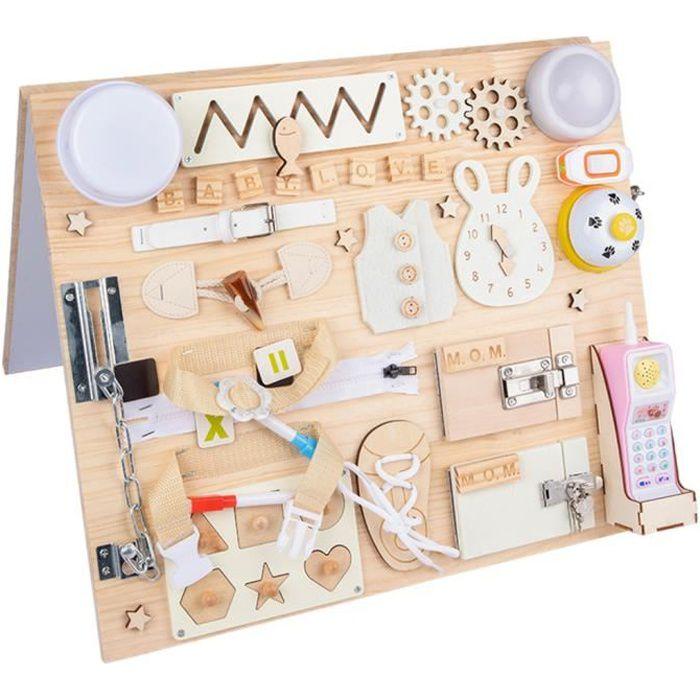 Tableau Occupé Montessori Toys Cadeau pour Garçons et Filles de 1 à 4 Ans Activités Préscolaires pour Tout-petits Jouets de