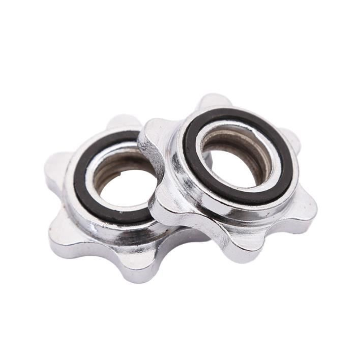 2 PCS Écrou Hexagonal 2.5 cm En Fonte Anti-dérapant Fileté Spin-Lock Collier Vis pour Haltère Haltérophilie DRONE