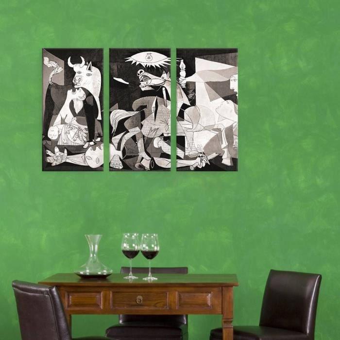 Guernica Pablo Picasso Imprimer Sur Canvas Synthetique Non Encadre Non Monte 76x51cm 3 Panels Combinaison Decor Mural œuvre Achat Vente Tableau Toile Soldes Sur Cdiscount Des Le 20 Janvier Cdiscount