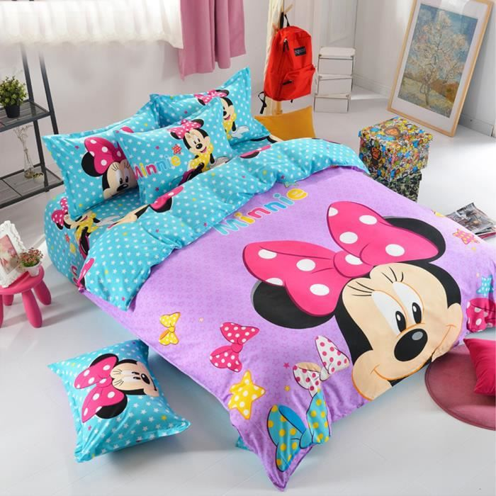 drap housse minnie 1 personne achat vente pas cher. Black Bedroom Furniture Sets. Home Design Ideas