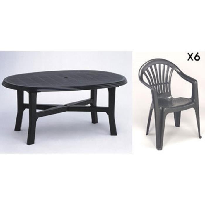 Table ovale grise + 6 fauteuils jardin plastique gris empilables