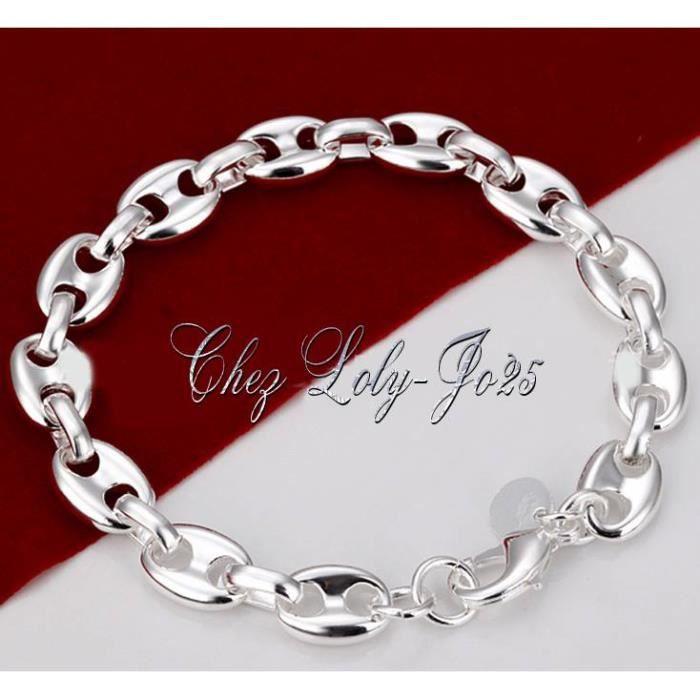 bracelet argent homme grain de cafe