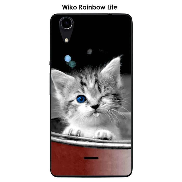 Coque Wiko Rainbow Lite design Chaton coquin - Cdiscount Téléphonie