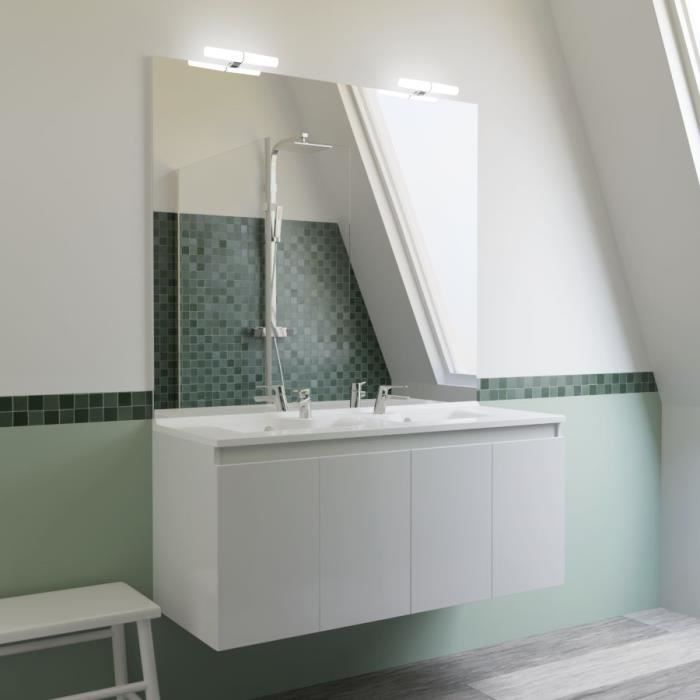 Meuble salle de bain double vasque PROLINE 120 - Blanc brillant - 120 -  Profondeur :45
