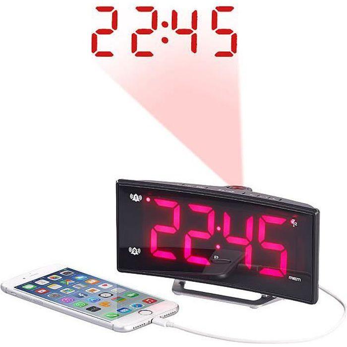 Radio-r/éveil /à projection avec affichage rouge et port de chargement USB