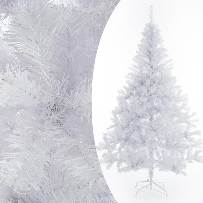 Sapin de Noël artificiel blanc 150 cm Décoration fête Arbre de