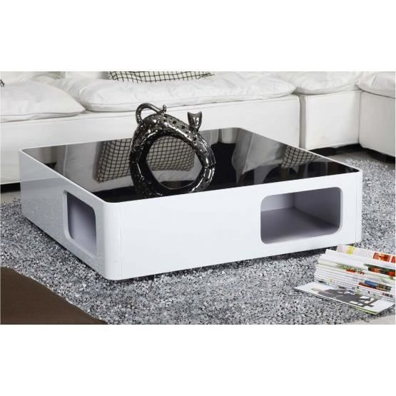 table basse design champagne noir et blanc achat vente. Black Bedroom Furniture Sets. Home Design Ideas