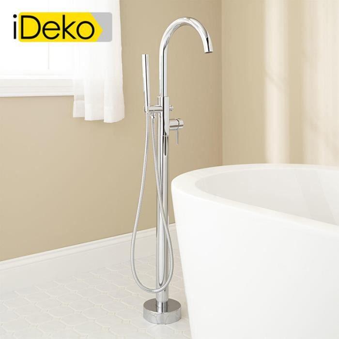 iDeko® Robinet de baignoire salle de bain douche verticale avec pommeau de  douche en laiton céramique