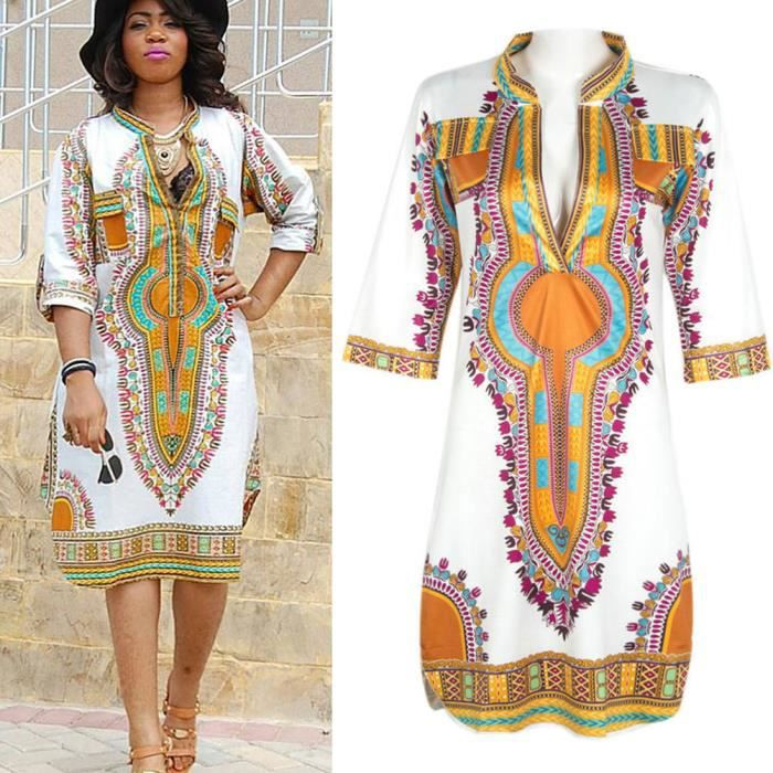 Robe d t impression africaine sexy v neck blanc achat Decoration africaine pas cher