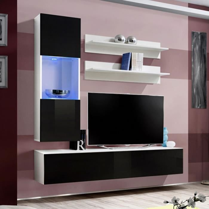 paris prix meuble tv mural design fly iii 170cm noir blanc achat vente meuble tv paris. Black Bedroom Furniture Sets. Home Design Ideas