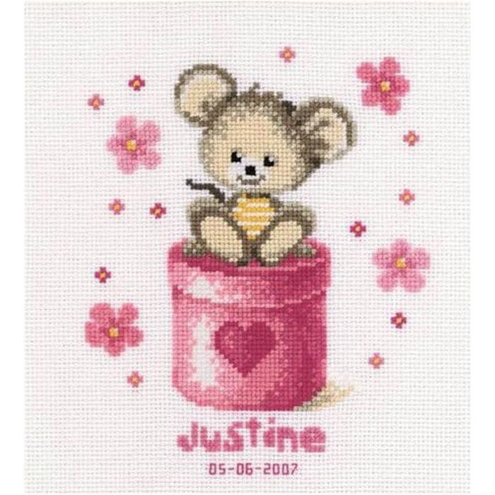 Kit A Broder Point De Croix Naissance Souris Justine Achat Vente Kit De Couture Kit A Broder Point De Croix Cdiscount