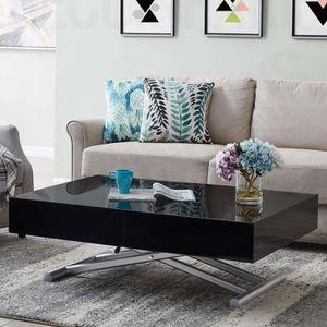 TABLE BASSE Table basse relevable extensible laquée noir SMART