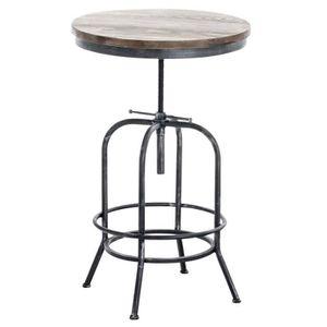 MANGE-DEBOUT Table haute bistrot style industriel hauteur régla