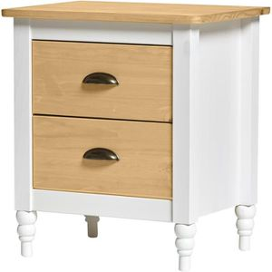 CHEVET IRENE Chevet 2 tiroirs - Décor blanc ciré - L 46 x