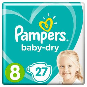 COUCHE PAMPERS Baby Dry Taille 8, 17+ kg, 27 couches