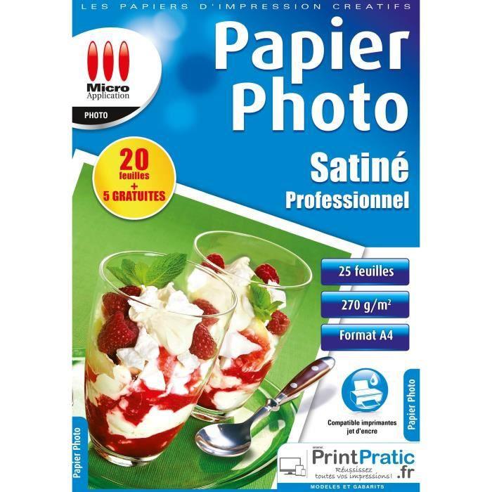 Papier Photo Satiné A4 - Professionnel - 270 g/m² - 20 feuilles + 5 feuilles offertes