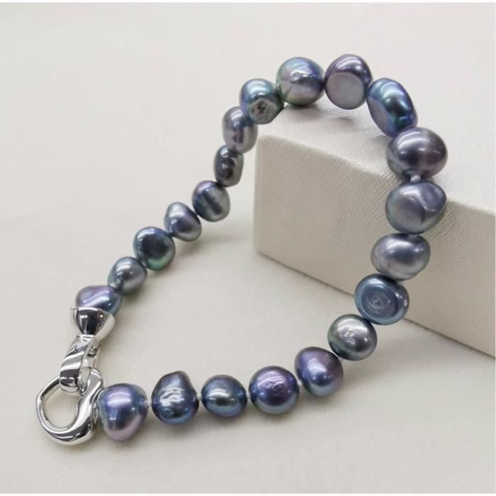 Bracelet Perles de Tahiti Bleus-Azur Coeur Argenté,Mode,Idée Cadeau Femme,Fête de Mère,Grande Mère,Anniversaire,St Valentin,Noel