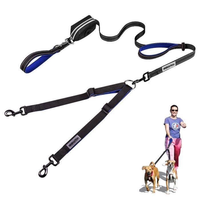 NAK Laisses doubles pour chiens, laisse non emmêlée pour chiens, 2 chiens pesant jusqu'à 180 lb