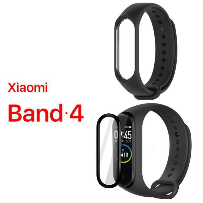 ALUCKY 1 pack bracelet dragonne (Noir) + 1 pack gratuit Film protecteur d'écran (noir) pour Xiaomi Band 4 Mi band