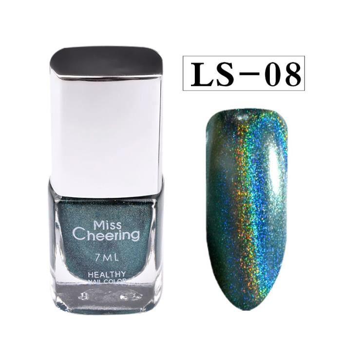 Poudre d'ongle d'effet d'ongle aucune feuille de vernis ongles art paillettes argent 7ML Vernis à ongle 1283
