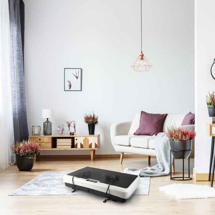 Plateforme Vibrante de Fitness Oscillante pour Fitness 2 Bandes Elastiques Contrôlé par Ecran/Télécommande à la Maison Noir