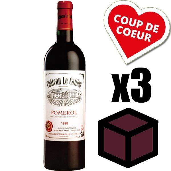 X3 Château Le Caillou 1998 Rouge 75 cl AOC Pomerol Vin Rouge