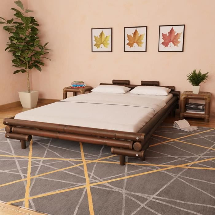 Lit en bambou 140 x 200 cm Marron foncé