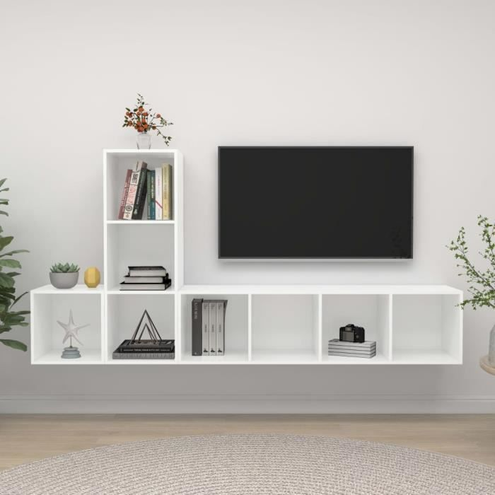 Unique MEUBLE TV MURAL COMPLET Ensemble de meuble TV 3 pcs Ensemble de meuble TV suspendu Blanc Aggloméré 7200