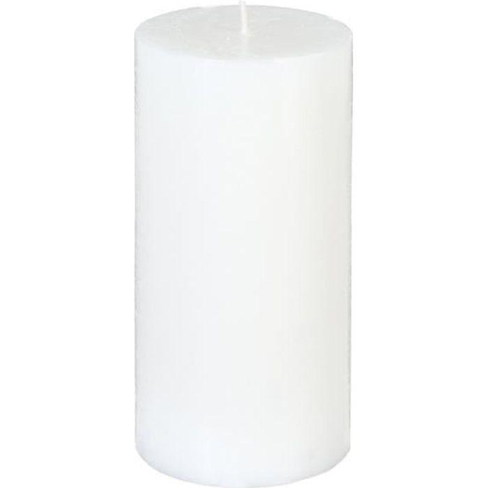 BOUGIE RONDE RUSTIQUE BLANCHE 7 X 14 CM Blanc