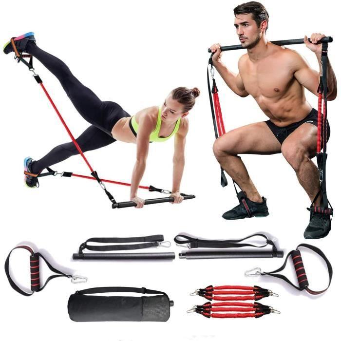 MMCAT Home Gym Pilates Bar Stick, Bande de formateur de r&eacutesistance &agrave l'exercice r&eacuteglable pour femmes et homm157