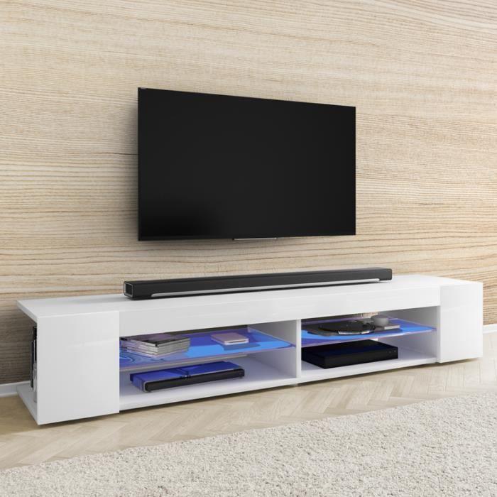Meuble TV / Meuble de salon - MITCHELL - 180 cm - blanc mat / blanc brillant - éclairage LED bleu à piles - style moderne