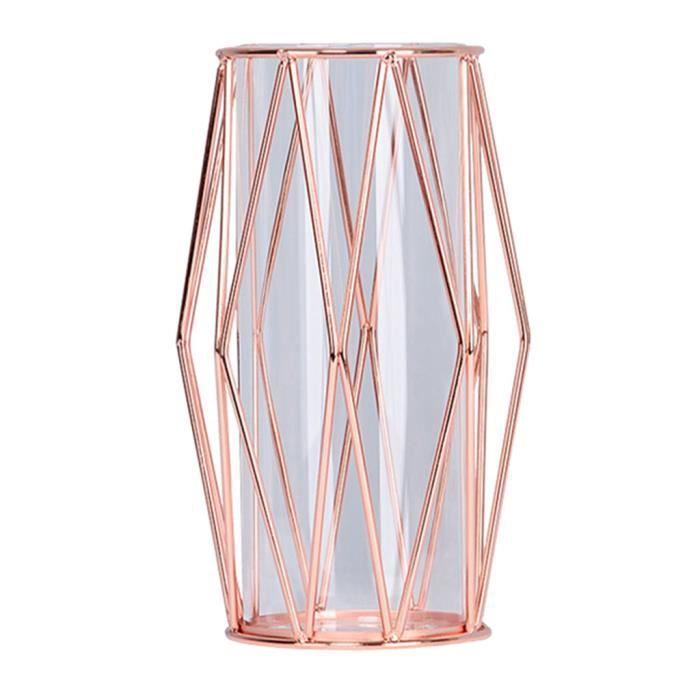 Vase à Fleur Décoratif Nordique De Fer De Fleur Pour Décor à Maison Rose d'or-S