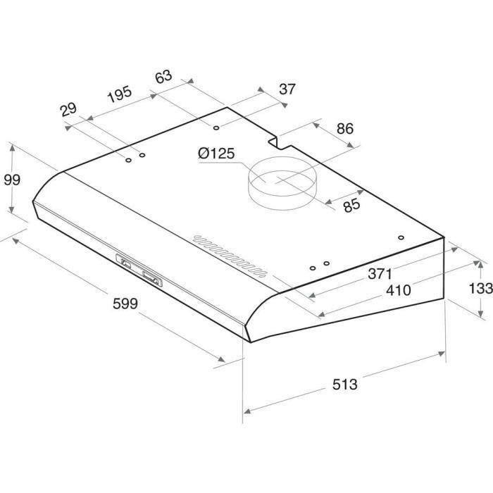 HOTPOINT HSL66FLSX Hotte à visière - 336 m3 air / h max - 74 dB max - 3 vitesses - L 60 cm - Inox
