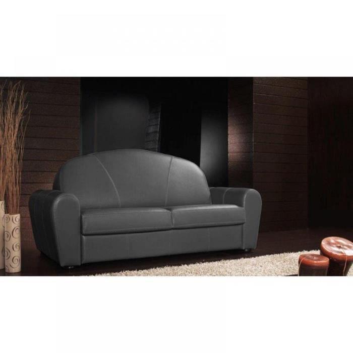 Canapé lit CLUB DELUXE convertible EXPRESS 120 cm cuir gris graphite matelas 16 cm gris Cuir Inside75