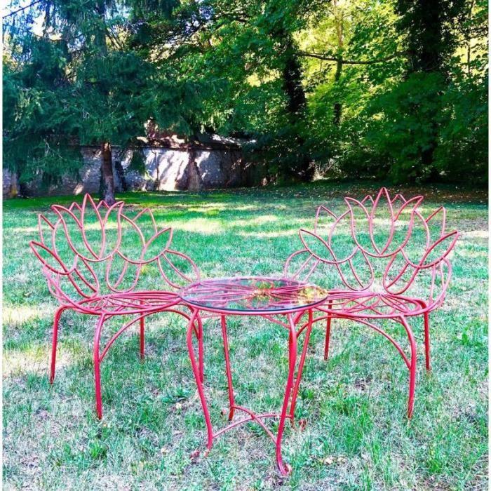 Salon Tulipe By HDT Ensemble de Jardin 2 Personnes 1 Table 2 Chaises en Métal Rouge 88